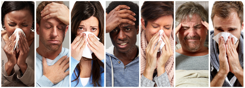 Fototapety, obrazy: sick people having flu, cold and sneeze