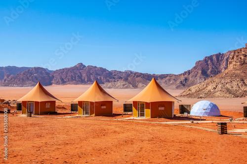 Luxurious tourist camping at Wadi Rum, Jordan Wallpaper Mural