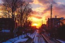 Beautiful Sunset Viewed From Train Station Platform