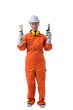 Full body portrait of a woman worker in Mechanic Jumpsuit is holding paint brush isolated on white background