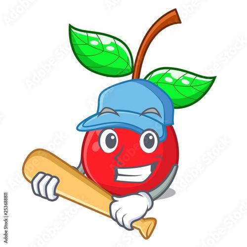 Playing baseball cherry fruit in a mascot basket Slika na platnu