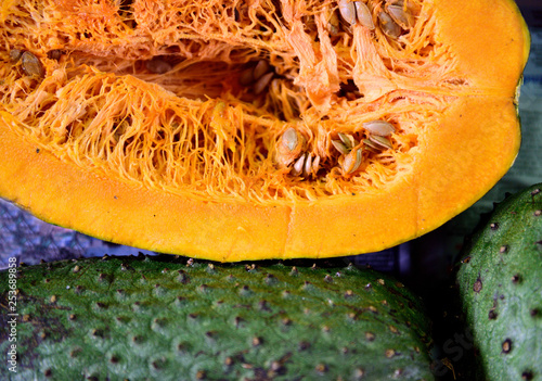 Fotografia, Obraz  Fresh soursop fruit, annona muricata or Colombian guanabana in a farmers produce market in Colombia, South America