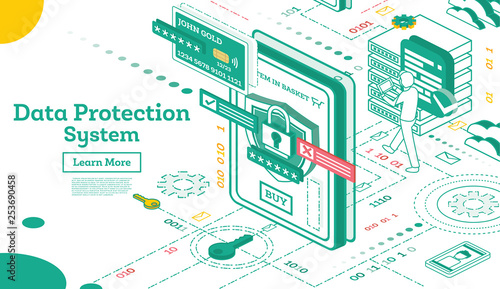 Fototapety, obrazy: Data Protection System Isometric. Cyber Security and Privacy. Traffic Encryption. VPN.