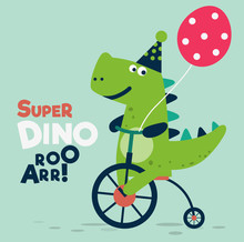 Happy Birthday - Lovely Vector Card With Funny Dinosaur Rides On Bicycle. Ideal For Cards, Invitations, Party, Banners, Kindergarten, Preschool And Children Room Decoration