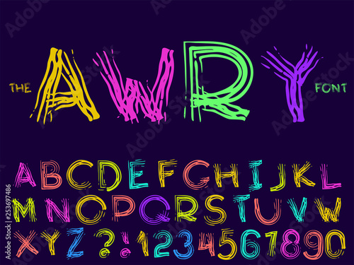 Set of vector abstract font and alphabet Canvas Print