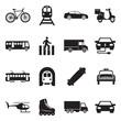 City Transport Icons. Black Flat Design. Vector Illustration.