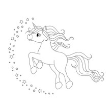 Cute Cartoon Unicorn. Black And White Vector Illustration For Coloring Book.