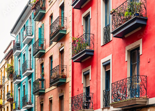 Colourful BuildingFacade  Houses Architecture Balcony Old town in Spain city Tra Wallpaper Mural
