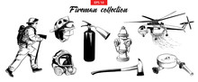 Vector Engraved Style Illustrations For Posters, Logo, Emblem And Badge. Hand Drawn Sketch Set Of Firefighter, Extinguisher, Hydrant, Helicopter, Gas Mask, Firehose. Detailed Vintage Etching Drawing