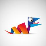 kolorowy wąż origami logo wektor