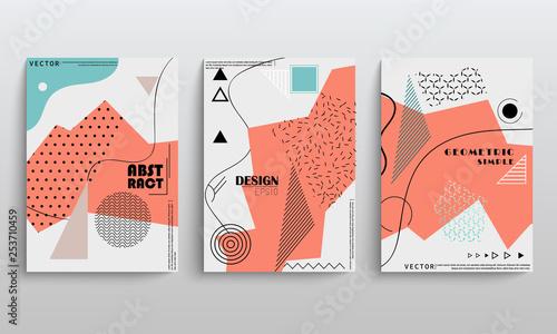 Stoffe zum Nähen Aktie Vector umfasst Vorlagen set mit geometrischen Grafikelemente für Broschüren Plakate Abdeckungen