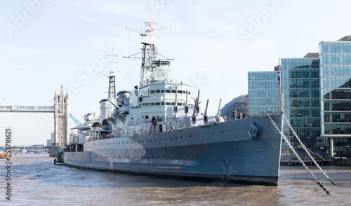 London, United Kingdom - Februari 21, 2019: HMS Belfast battleship moored on the Wallpaper Mural