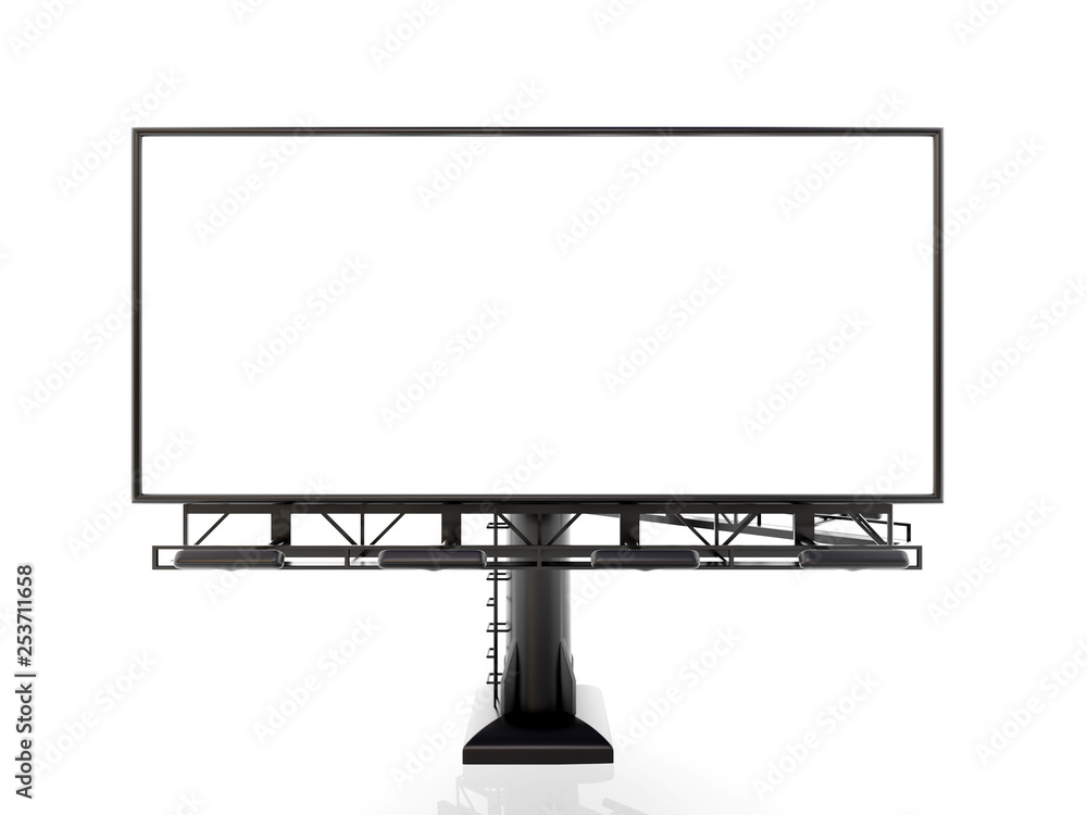 Fototapety, obrazy: 3D rendering of blank billboard (empty advertisement) isolated on white background - mock up template