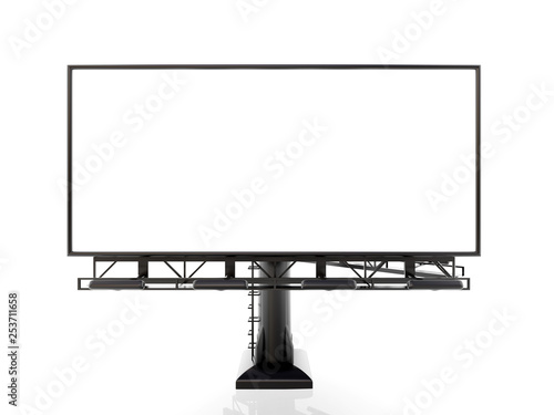 Fotografía  3D rendering of blank billboard (empty advertisement) isolated on white backgrou