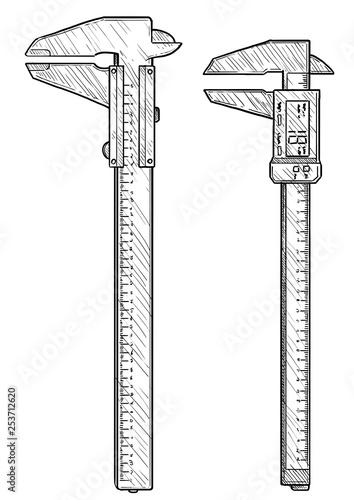 Photo Caliper illustration, drawing, engraving, ink, line art, vector