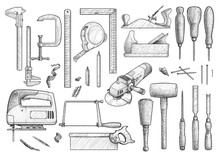 Carpentry, Industrial Tool, Illustration, Drawing, Engraving, Ink, Line Art, Vector