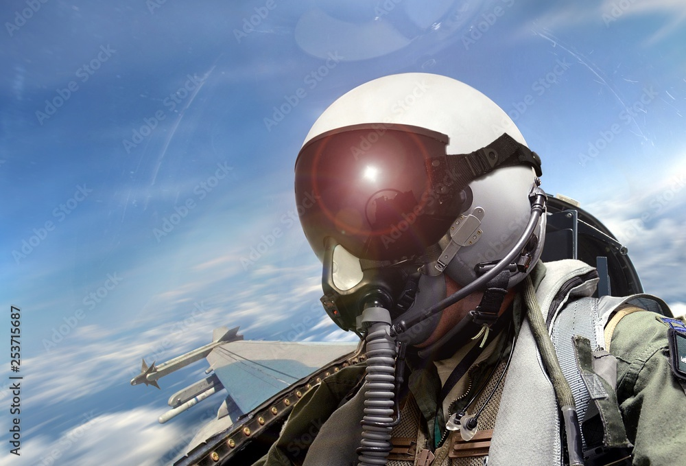 Fototapety, obrazy: Fighter pilot cockpit view at sunrise