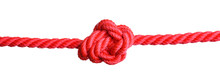 Red Rope With Knot On White Background