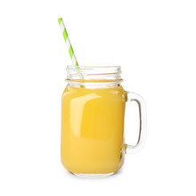 Mason Jar Of Orange Juice  On White Background