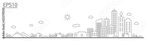 Obraz Cityscape. Landscape flat design concept. - fototapety do salonu
