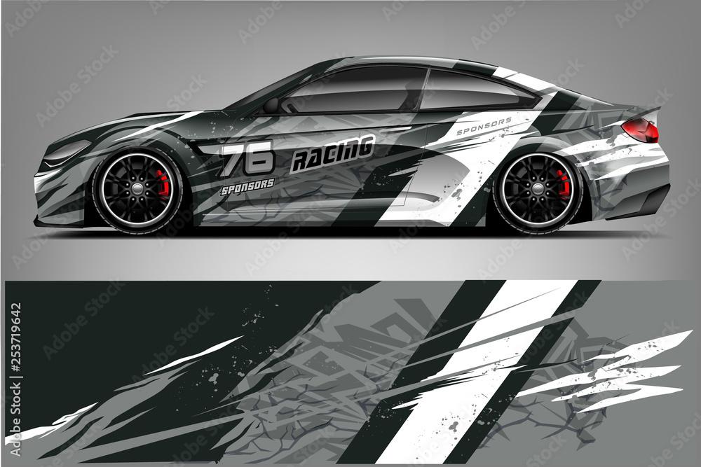 Fototapeta Sport car racing wrap design. vector design. - Vector
