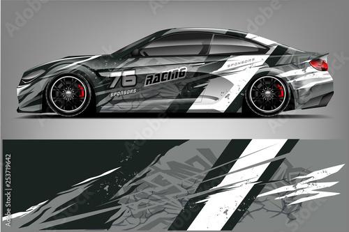 Fototapeta Sport car racing wrap design. vector design. - Vector  obraz