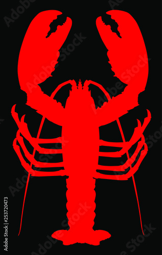 Valokuvatapetti Red lobster vector silhouette isolated on black background
