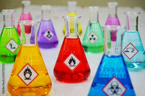 Many of Erlenmeyer flask with colorful solution and Variety type of chemical hazard warning symbols labels. Focus on Flammable sign,symbol.