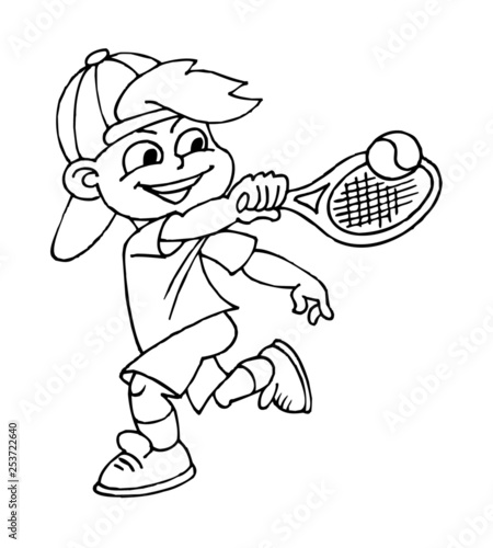 Boy Playing Tennis Children Sports Black And White Clipart Buy This Stock Vector And Explore Similar Vectors At Adobe Stock Adobe Stock