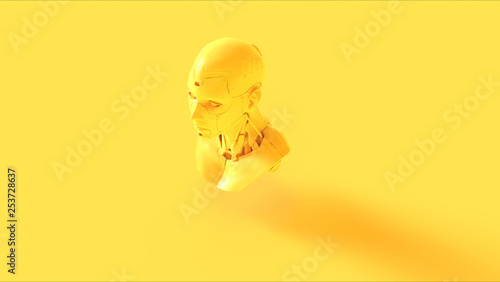 Pinturas sobre lienzo  Yellow Cyborg Bust 3d illustration 3d render