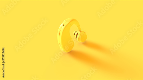 Valokuva  Yellow Behind the Ear Hearing Aid 3d illustration 3d render