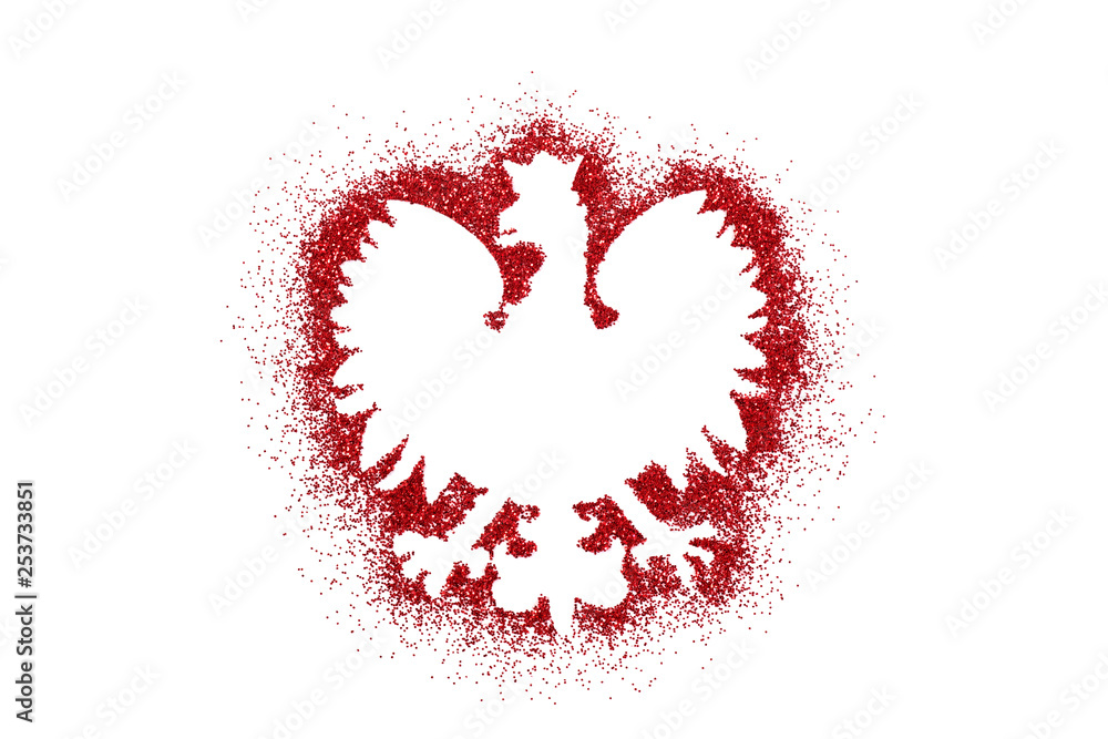 Fototapety, obrazy: Polish coat of arms shape on red glitter