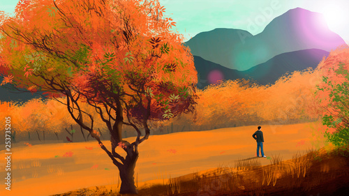 Garden Poster Brown Young man stand in autumn landscape with mountian, digital painting