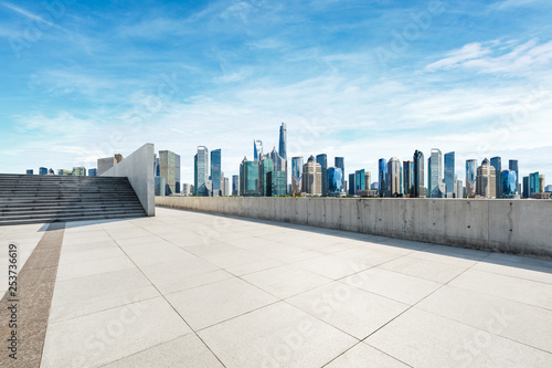Empty square floor and panoramic city skyline with buildings in Shanghai Wallpaper Mural