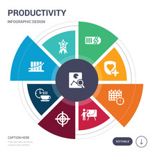 Set Of 9 Simple Productivity Vector Icons. Contains Such As Analyze, Appreciation, Bar Graph, Break, Bullseye With Target, Businessman And Tactics, Calendar With Deadlines Icons And Others. Editable