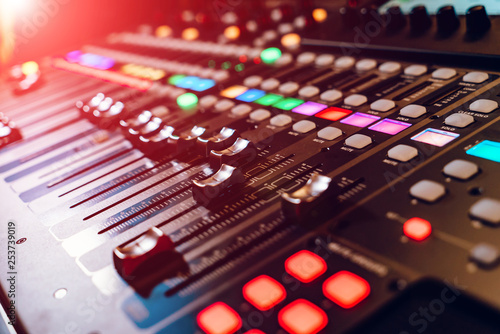 Poster Macarons Professional concert mixing console. Music record studio. Close-up