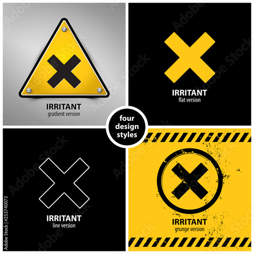 Fotografie, Obraz  set of harmful irritant chemical hazard symbols containing four unique design el