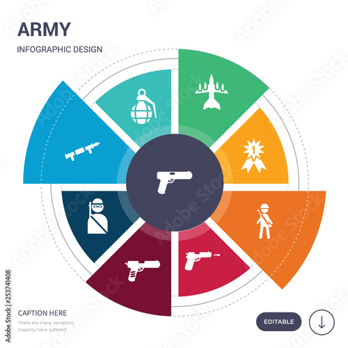 Fotografía  set of 9 simple army vector icons