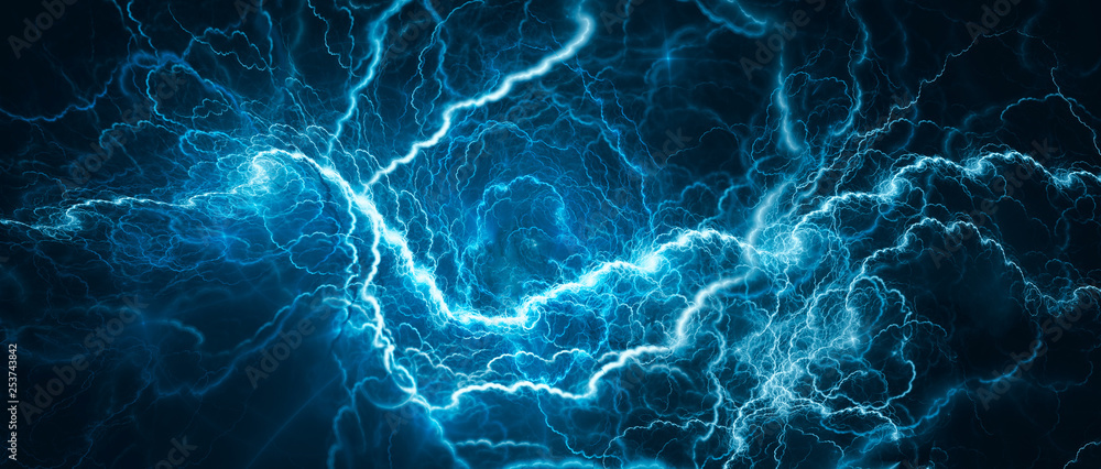 Fototapeta Blue glowing lightning