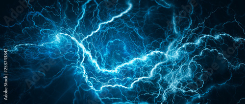 Photo Blue glowing lightning