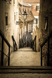 Fototapeta Na drzwi - Old city stairs, Upper Town, Zagreb, Croatia