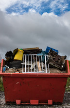 Rubbish Skip Full Discarded And Broken Items