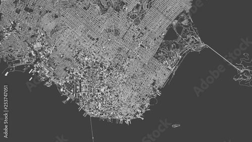 Satellite view of San Francisco, map, 3d buildings Canvas Print