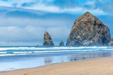 Famous Haystack Rock On Cannon Beach, Oregon Coast