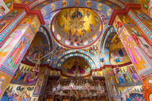 Interior Of The Greek Orthodox Church Of The Twelve Apostles In Capernaum By The Sea Of Galilee, Lake Tiberias, Israel.