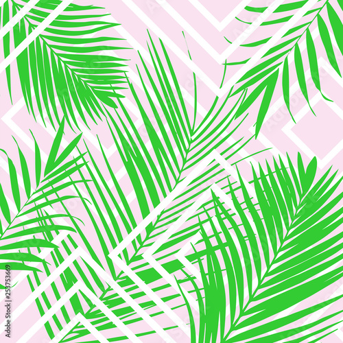Fotobehang Tropische bladeren Vector tropical palm leaves on pink background