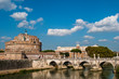 Castel Sant'Angelo or Mausoleum of Hadrian and Bridge Sant'Angelo, Rome, Italy