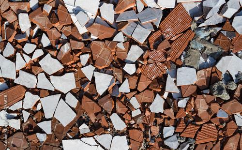 Fotografie, Obraz broken ceramic tiles background