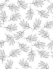 Hand Drawn Black Twigs Vector Pattern. Delicate Romantic Garden Illustration. Black Twigs On A White Background. Lovely Repeatable Floral Design. Sketched Single Olive Branches.