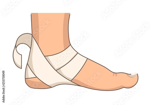 Obraz na plátně Heel bandage foot injury or stretching first aid bandaging